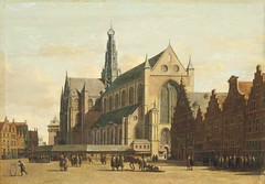 Gerrit Berckheyde – private collection. The Grote Markt, Haarlem, looking south-east, with the Church of Saint Bavo (c.1690s) (lack of imagination) Tags: 15002000 animals blog church gerritberckheyde people privatecollection townscape