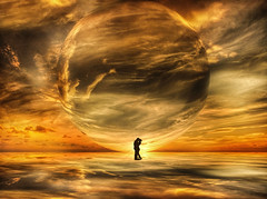Great Love (*AdeCo*) Tags: valentinesday love lovers couple planet earth fantasy gold ball universe man woman clouds dream colors sun sunlight nature landscape romantic beautiful fairytale cosmos sunset