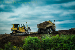 The Sand Box (HTT) (13skies) Tags: bulldozer dumptruck sand dirt sandbox green digging playing working big moving earth constructionequipment construction singleshothdr clouds wages job happytruckthursday htt