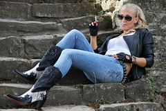 Anna 124 (The Booted Cat) Tags: sexy blonde model girl tight blue jeans leather cowboyboots cowgirl boots jacket gloves