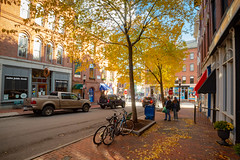 Lower Exchange Street and Yellow Autumn Trees (Corey Templeton) Tags: autumn city exchangestreet fall newengland oldport other portland portlandmaine maine unitedstates us