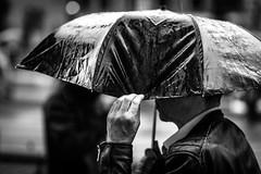 the hand that rains (Gerrit-Jan Visser) Tags: geimporteerd streetphotography amsterdam blackandwhite rain umbrella hand wet shine