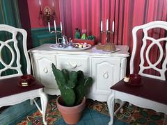 Tea time is over (Foxy Belle) Tags: doll dollhouse miniature sindy furniture tea chairs dining room plants cacti sideboard food 16 wallmart scene marx vintage dessert