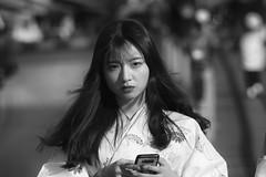 Street portrait (Andrew Allan Jpn) Tags: girl asian chinese tourist cute beauty street monochrome blackandwhite greyscale japan travel eyecontact pentax ricoh k3 look kimono yutaka movement happyplanet asiafavorites