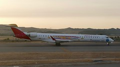 Bombardier CRJ-1000 Iberia Regional Air Nostrum EC-LJS MAD Madrid Airport Spain 2018 (roli_b) Tags: bombardier crj1000 crj 1000 aviacion sin fronteras iberia regional air nostrum ecljs special painting livery mad madrid barajas aeropuerto airport aeroport takeoff starting take off sunrise aircraft airplane jet flugzeug flieger avion aereo aviacao 2018