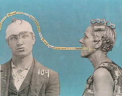 ohi (woodcum) Tags: woman man word swear dialogue surreal collage vintage grain head injured