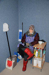 Toilet Service Girl (Warm Clothes Fetish) Tags: maid slave torture hot warm sweat girl apron coat boots fleece hijab