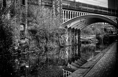Manchester (Missy Jussy) Tags: manchester canal waterways water rochdale rochdalecanal city northwest england walkways footpath bridge railway buildings reflections derelict light shadows girders trees mono monochrome blackwhite bw blackandwhite 50mm ef50mmf18ll ef50mm canon50mm fantastic50mm canon5dmarkll canon5d canoneos5dmarkii canon