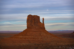 Mitten & Moon (JasonCameron) Tags: monument valley arizona utah desert red rock old west western untamed rugged sandstone sky winter snow dusting clouds