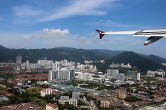 departing Penang, Malaysia (Jaws300) Tags: flyingscenery fromabove canon5d wideangle georgetown bridge water malacca strait wide angle canon 5d eos from above scenery flying town city butterworth sunny morning approach approaching wmkp pen runway penang airport hills hill mountains mountain nature malaysia island pulau pinang green day daylight pax passenger cathaydragon dragonair cathay dragon air regional wing winglet wingview airbus a320 a321 bhtf iae v2533 old junker