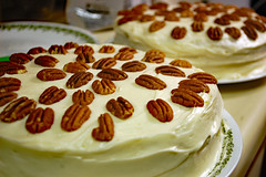 Pair Of Cakes. (dccradio) Tags: lumberton nc northcarolina robesoncounty indoor indoors inside food eat dessert snack cake baked homemade hummingbirdcake yum yummy nuts pecan pecans frosting frosted icing iced january winter monday evening mondayevening goodevening nikon d40 dslr