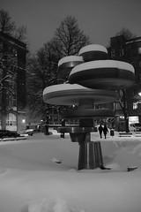 Monument (Sivakovin) Tags: stphotographia blackandwhite talvi winter snow streetshot nightphotography fujifilm art alvaraalto monument tampere