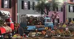 The Farmers Market (Alexa Maravilla/Spunknbrains) Tags: dustbunny consignment fameshed belleevent jian littlebranch secondlife sl decor decorate blog blogger photography tree fruit vegetables ducks bicycle outdoors farmersmarket hive townhomes house home