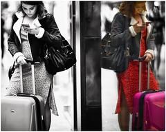 Patty and Cathy (gro57074@bigpond.net.au) Tags: thepattydukeshow reflections mirror woman cbd sydney pittstreetmall streetphotography candidstreet candidportrait candid selectivecolour spotcolour d850 nikon 105mmf14 artseries sigma