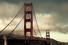 Bridge over troubled water (mara.arantes) Tags: bridge ponte agua water sky sanfrancisco landscape ca architecture tower cloud arch goldengate gate