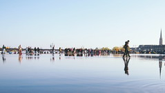 Crystal Lake (sdimitris) Tags: lake bordeaux france people walking sky cathedral miroir deau