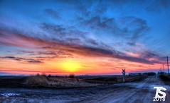 3/3 Winter Sunset over Northern Hardin County, IA near Iowa Falls, IA 12-25-18 (KansasScanner) Tags: iowafalls iowa up train railroad sunset sunrise