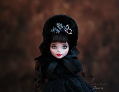 Flowers of blue 💙 (pure_embers) Tags: pure embers doll dolls uk pureembers photography custom repaint laura england fashion monster high lenore dark gothic bonnet blue flowers tashedflywig