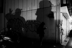P1138896 Street corner (soyokazeojisan) Tags: japan city street night light people wall shadow bw blackandwhite monochrome digital olympus em1markⅱ 1240mm 2019