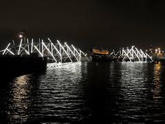 Bridge becomes work of art (Shahrazad26) Tags: amsterdamlightfestival20182019 mrjjvdveldebrug amsterdam noordholland nederland holland thenetherlands paysbas brug bridge brücke pont ponte weerspiegeling reflection reflectie water wasser eau