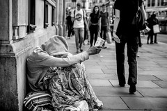 Hands (thomasthorstensson.photography) Tags: opposite autumn composition face street character oxfordcircus expression 2016 homeless fujifilm story xf23mm14r chaos hard urban sidewalk monochrome social honest alone life september communication candid human london document