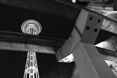 space needle (ajd808) Tags: seattle night blackandwhite architecture landmark