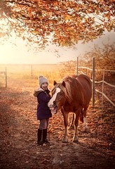 Have a Great Day (agirygula) Tags: monday blues laughing fun horse girl smile autumn leaves nove ber november sony 50mm sigma sigmaart pony child children childphotography polish polishphotographer