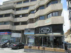 Brutalist apartments with shops below, Grigori Afxentiou Avenue, Larnaca, Cyprus (Paul McClure DC) Tags: larnaca larnaka cyprus mediterranean may2018 architecture modern