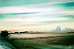 Le malaise du moment (Fabrice Le Coq) Tags: vert ciel avion nuage oiseaux gratteciel placebo motokoproject mixedmedia artphoto fabricelecoqfoto