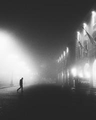 Foggy night (motocchio) Tags: 123bw blackandwhitephotography streetphotography piazza forli foggyday nebbia winter