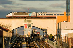 19-154 (George Hamlin) Tags: new york city queens astoria railroad passenger train amtrak acela atk 2166 power car 2005 eastbound subway nycta transit authority station n w line tracks bridge sky signals light shadow george hamlin photography photo decor
