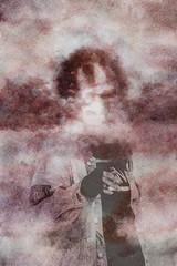 Nº3 (nuriagalv) Tags: watercolor portrait color people black bnw bw blanco bn blancoynegro boy blackandwhite bnwphotography bnwportrait girl