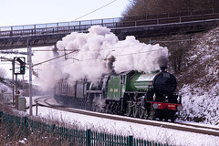 Strang pairing (stevenjcrozier) Tags: 61306 mayflower 35018 british india lines beckfoot wcml steam snow winter cumbrian mountain express 1z87 wcrc