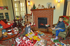 christmaslegooby (FAIRFIELDFAMILY) Tags: christmas 2018 jason taylor grant carson michelle winnsboro sc south carolina present presents family living room house interior arts crafts craftsman bungalow antique fireplace rug lego legos child boy young old children boys mother son fairfield county vintage tree morris chair oak mantle piece
