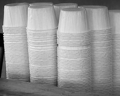 Sauce Cups (arbyreed) Tags: arbyreed lookingcloseonfriday ofpaper papercups saucecups frysaucecups round stacked stackedpapercups bw blackandwhite monochrome