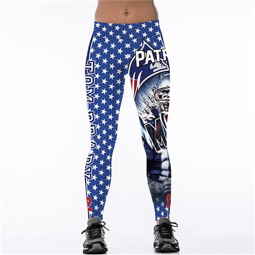 Women Leggings Tom Brady 12 New England Patriots Sport Print Running Active Sportswear High Waist Pant Sexy Slim Hip Fitness Jogger Gym