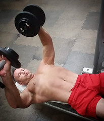 dumbbell chest press (ddman_70) Tags: shirtless pecs chest abs muscle gym workout