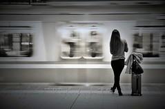 Departure (reiko_robinami) Tags: streetphotography urban city platform monochrome blackandwhite train oneperson yokohama japan