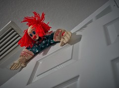 Bozo breaks in (Twila1313) Tags: clown bozo clowndoll creepyclown homeinvasion breakingin threat threateningclown toyclown kidstoy scary creepy attack sonya7ii minoltamd50mmf20