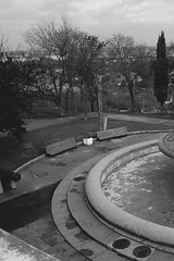 Low rise bench (Alexander Oleynik) Tags: blackandwhite bw bench park fountain panorama sevastopol crimea