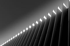 vertical light protection (heinzkren) Tags: architektur shadow light architecture blackandwhite schwarzweis monochrome bw sw linz austria bruckneruniversität pöstlingberg lines panasonic lumix building gebäude contemporary fassade facade urfahr lamellen slats paneling paneel panel abstract structure pattern texture