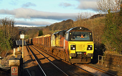 Last Of The Light Logs At Settle. (Neil Harvey 156) Tags: railway 70814 settlestation settle settletocarlislerailway logtrain thelogs chirklogs 6j37 class70 colasrail colas