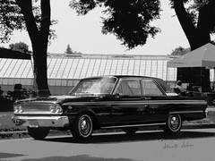 Fairlane 500 (novice09) Tags: backtothefifties carshow blackandwhite monochrome ipiccy whitewalls 1963 fairlane500