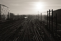 Leaving the city (Guillaume DELEBARRE) Tags: canon 5dmarkiv gare lille rails light sun tamron1530 contrejour trainstation train ultrawideangle wideangle departure reflets railroad sncf france