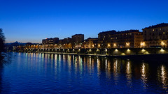 Blue Hour on the River Po, Turin (Mister Electron) Tags: italy nikond800 piedmont torino turin bluehour evening dusk river reflections riverpo wideangle