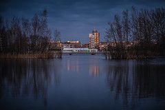 Lake Emiclaer sunset (Dannis van der Heiden) Tags: water sky tree building dusk lake emiclaer sunreflection sun reflection panorama cityscape bird flag nikond750 d750 tamron70210mmf4 amersfoort netherlands sundown shadow tent bridge