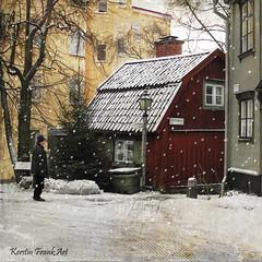 Winter in Stockholm (Kerstin Frank art) Tags: winter stockholm texture djurgården kerstinfrankart snow cottage street