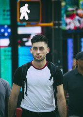 094A3807 v2 (Wheels Down) Tags: candid nyc streetphotography male guy handsome earbuds tshirt backpack scruffy hottie