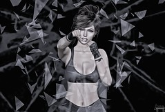 What's A Girl To Do? (Patrick of Ireland) Tags: sl secondlife window glass fighter pink justlikefire bw blackandwhite
