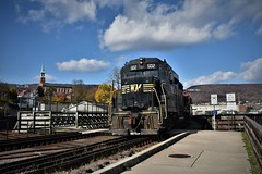 Now Departing Cumberland (csx7661) Tags: wmsr gp30 railroad railroadhistory preservation greatalleghenypassage trains railroads railroading sky clouds cumberland maryland westernmaryland nikon